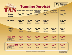 Pricing at the ultimate tan - Tanning salons prices ...